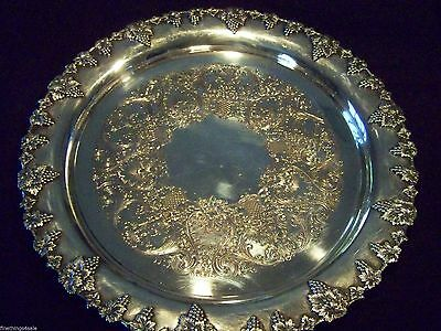 Vintage Victorian Sheffield Style Silver Grape Vintage Border Large Round Tray