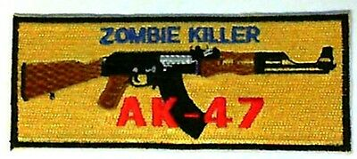 AK-47 Zombie Killer Iron-on Embroidered AK47 Applique Crest Patch Gold/Blue/Red