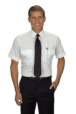"""The Aviator"" Pilot Shirt by Van Heusen - Men's Short Sleeve White Uniform Shirt"