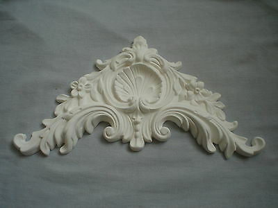 Very Ornate French Bed Pediment / Moulding White Resin