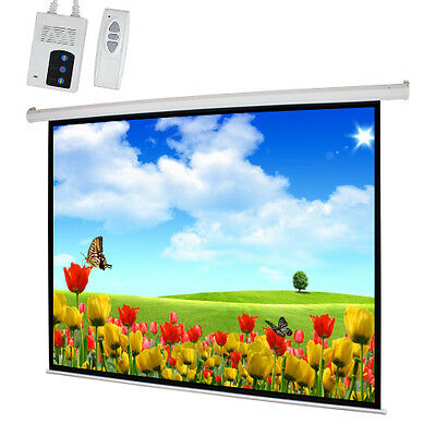"NEW 100"" 4:3 Motorized Electric Auto Projector Projection Screen Remote Control"