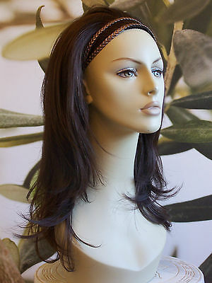 Ladies Long 3/4 Wig Half Wig Fall Clip In Hair Piece Black Brown Blonde 18""
