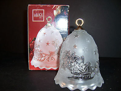 NEW BEAUTIFUL CRYSTAL MIKASA SILENT NIGHT BELL  FROSTED GLASS 958/922 NEW IN BOX