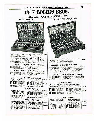 1847 Rogers Bros. Silverplate Fiesta And Lustre Walnut Chests  1940 Catalog Ad