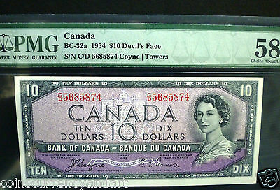 Devils Face PMG 58 Bank Of Canada 1954 $10