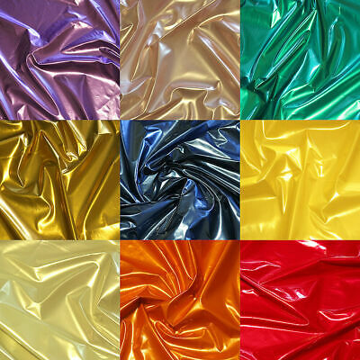 SHINY METALLIC PVC VINYL for DANCE GOTH DRESS CATSUIT CORSET BALLOONS FABRIC 54""