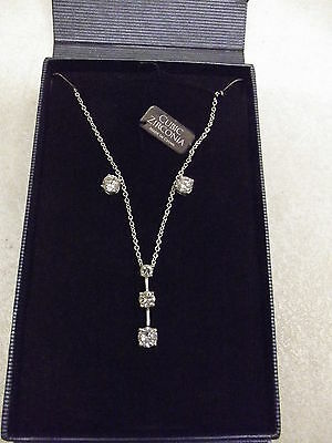 Cubic Zirconia Cz Sterling Silver Necklace & Earring Set New In Gift Box