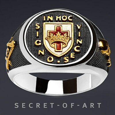 KNIGHTS TEMPLAR MASONIC IN HOC SHIELD with CROWN SILVER 925 24K-GOLD-PLATED RING