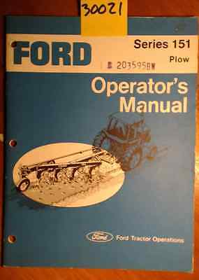 Ford Series 151 Plow Owner's Operator's Manual SE 3535-A 2775 2/77