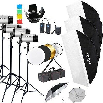 1000Ws Godox 4 * 250DI Studio Strobe Flash Light stand umbrella trigger Bag Kit