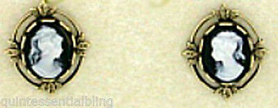 24k Gold Plated Vintage Look Jet Black Cameo Post Earrings Surgical Steel Posts
