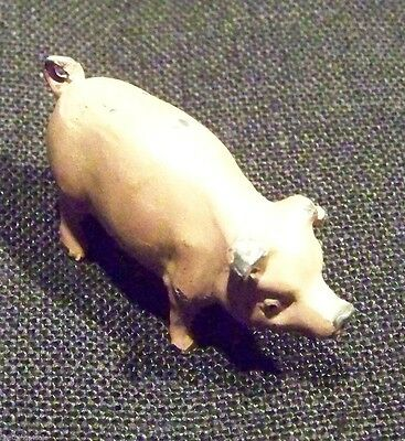 PRETTY ANTIQUE COLD PAINTED CAST IRON PIG FIGURINE - more FineThings4sale