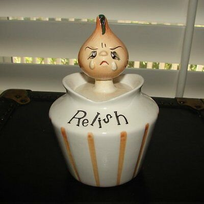 Vintage LEFTON PIXIE RELISH Anthro Condiment Jar w Crying Onion Face & Spoon