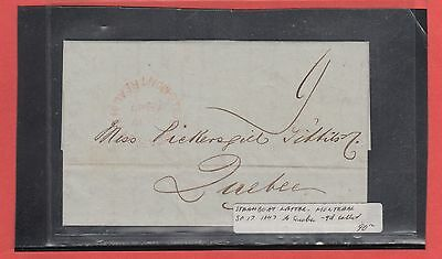STEAMBOAT LETTER Montreal 1847 SP 17 to Quebec 9d collect Canada cover