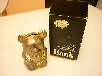 """Vintage 5"""" Bear Coin Bank - Metal Silver Plate Plated - Leonard Made in Italy"""