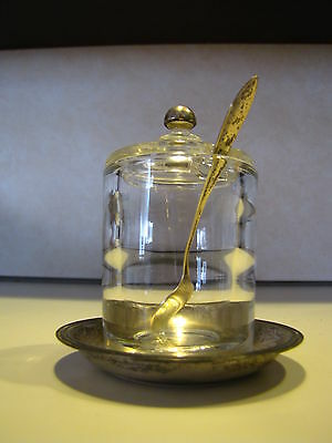 Antique Sterling Silver & Heisey Glass Mustard Pot ,Spoon, Underplate Whiting Co