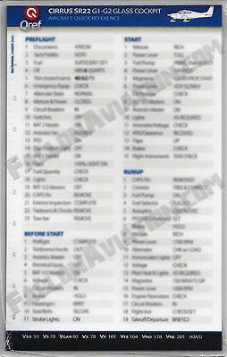 Cirrus SR22 G1-G2 Quick Reference Aircraft Checklist Card by Qref