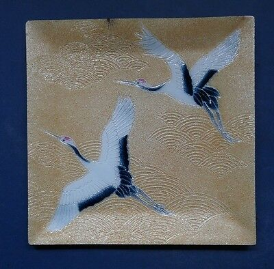 SUPERB QUALITY JAPANESE CLOISONNE DISH WITH CRANES  BY ANDO