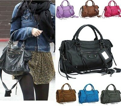 new ladies women fashion Hobo faux leather handbag tote shoulder bag black Purse