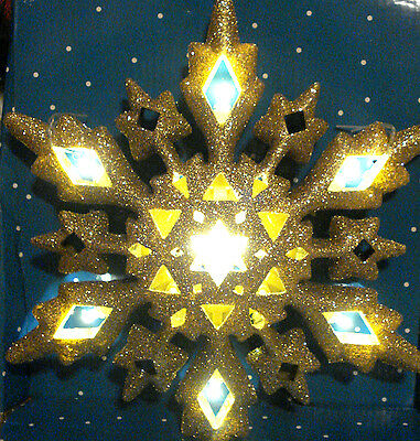 CHRISTMAS LED WHITE WARM LIGHT LIGHTED GOLD SNOWFLAKE TREE TOPPER DECORATION