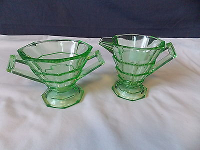 "1920's INDIANA GLASS CO ""TEA ROOM"" GREEN VASELINE SUGAR & CREAMER SET"