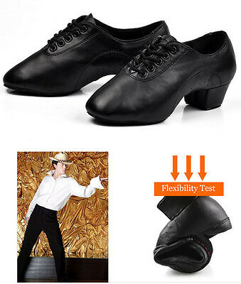 New Men Boy's Black Soft Faux Leather Mid Heel Latin Waltz Ballroom Dance Shoes
