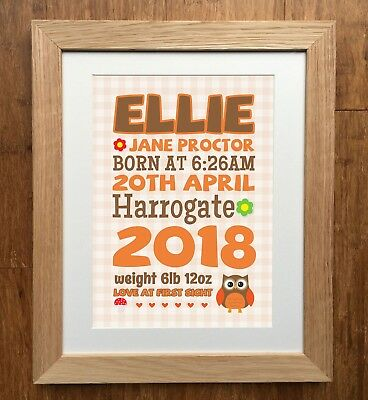 Personalised Birth Details Print - Professionally Printed - Christening Gift