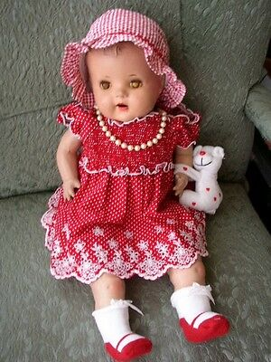 """1920-30s Large 20"""" Composition Baby Doll in Red Dress"""