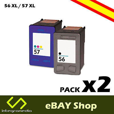 2 Cartuchos Compatibles 56 XL Negro y 57 XL Color para HP Deskjet 5150