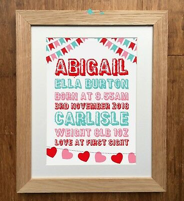 Personalised Birth Details Prints - Free Post - New Baby Gift - New Baby Print