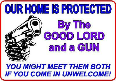 Protected lord gun sign house mancave cottage gift novelty security property