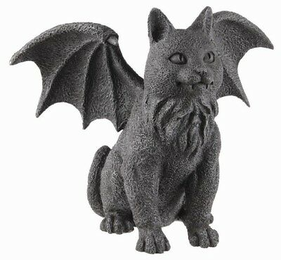 """7"""" Length Winged Cat Gargoyle Statue Figurine Gothic Kitty Guardian Collectible"""