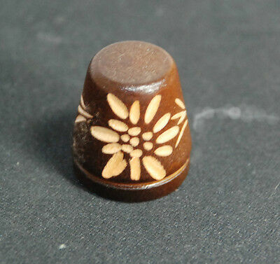 Collectible UNIQUE Wooden Wood Flower Carving Design or Star Thimble