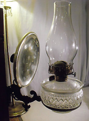 Atq P&A Crystal Oil Lamp Early Pressed Caboose Copper Cut Glass Bracket American