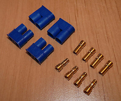 2 Paar EC3 Goldstecker Stecker 3,5mm Bananenstecker Connector Goldkontakt Gold