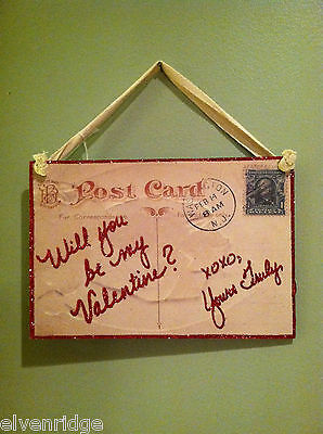 "Vintage ""Will You Be My Valentine?"" Post Card Valentine's Day Decor"