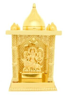 Temple Shrine Durga Mata Shera Wali Vaishno Devi Maa Golden Carved Statue Small