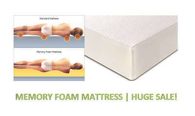 "Luxury Memory Foam Mattress Single Double King 3Ft 4Ft 4Ft6 5Ft Depths 6"" 8"" 10"""