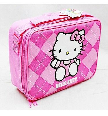 NWT Hello Kitty by Sanrio Insulated Lunch Box Bag Pink Plaid Newest Style!!!