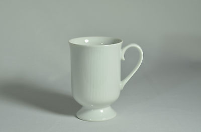 FINE CHINA JAPAN ASCOT white ribbed FOOTED MUG  (8) available EXC