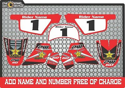 pw50 rockstar decals graphics yamaha pw 50  peewee laminated stickers red