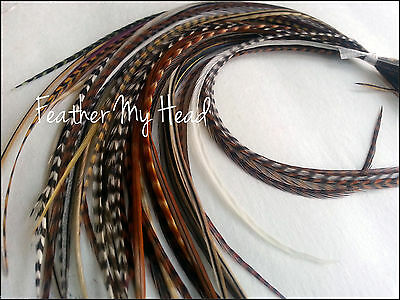 50 NATURAL LONG MIX WHITING GRIZZLY SADDLE FEATHER HAIR EXTENSIONs