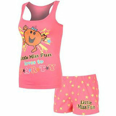 Ladies Size 8-16 Little Miss Fun Party Pyjamas Shorts Vest Next Day Post Womens