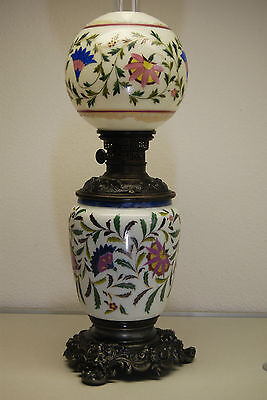 Antique Art Nouveau Victorian French Enamel Vintage Old Oil Kerosene Gwtw Lamp