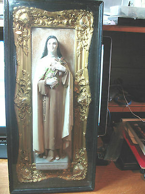 St. Therese Of  The Child  Jesus   Antique Shrine   Glass  Encased