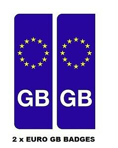 2 x EURO GB BADGES NUMBER PLATE DECALS STICKERS front & rear V370