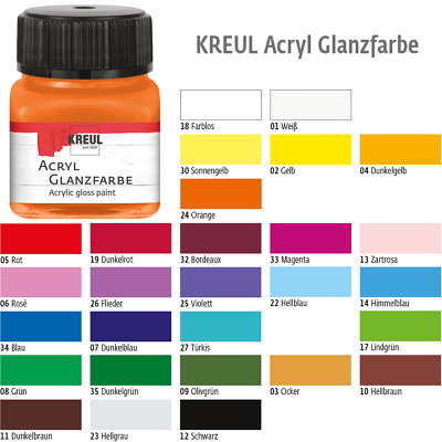 (100ml=12,00€) Hobby Line Acrylfarbe Glanzlack Bastelfarbe 20ml in 34 Farben