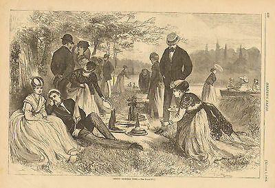 Victorian, Romance, Fashions, Wine, Picnic, 1868 Original Antique Art Print,