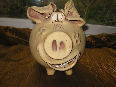 Folky Handmade Pottery Pig Gold Tooth