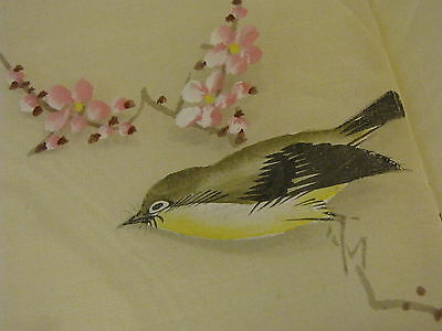 Antique Hand Painted Set of Linen Napkins &Tablecloth Birds Japan for 12 Person